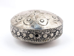 Circular Silver Artisanal Berber Bead (34mm) - The Bead Chest