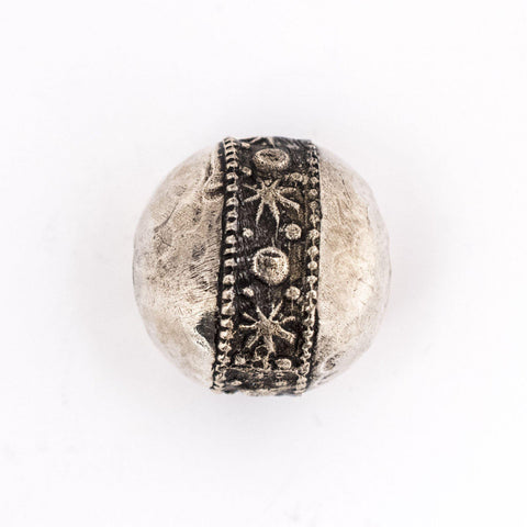 Image of Round Hammered Silver Artisanal Berber Bead (19mm) - The Bead Chest
