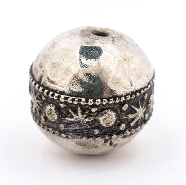 Round Hammered Silver Artisanal Berber Bead (19mm) - The Bead Chest