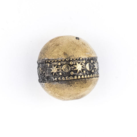Image of Round Brass Artisanal Berber Bead (22mm) - The Bead Chest