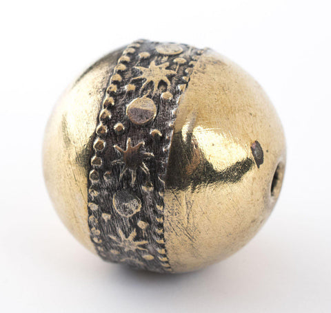 Round Brass Artisanal Berber Bead (22mm) - The Bead Chest