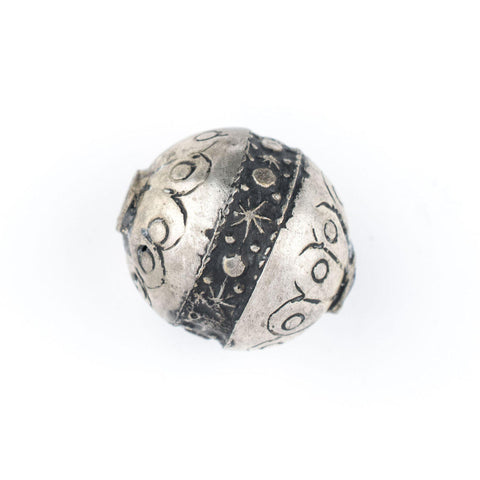Image of Round Silver Artisanal Berber Bead (23mm) - The Bead Chest