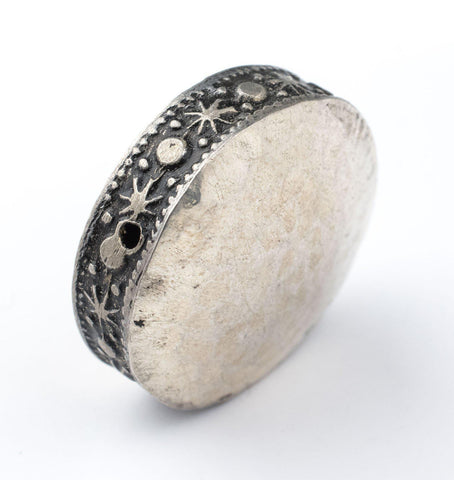Hammered Silver Circular Artisanal Berber Bead (32mm) - The Bead Chest