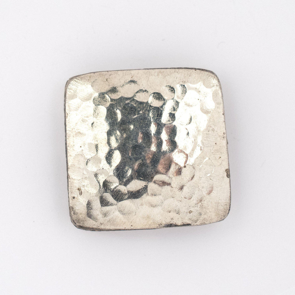 Hammered Brass Square Artisanal Berber Bead (35mm) - The Bead Chest
