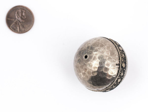 Round Hammered Silver Artisanal Berber Bead (33mm)