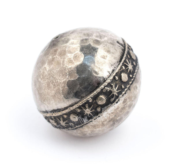 Round Hammered Silver Artisanal Berber Bead (30mm) - The Bead Chest