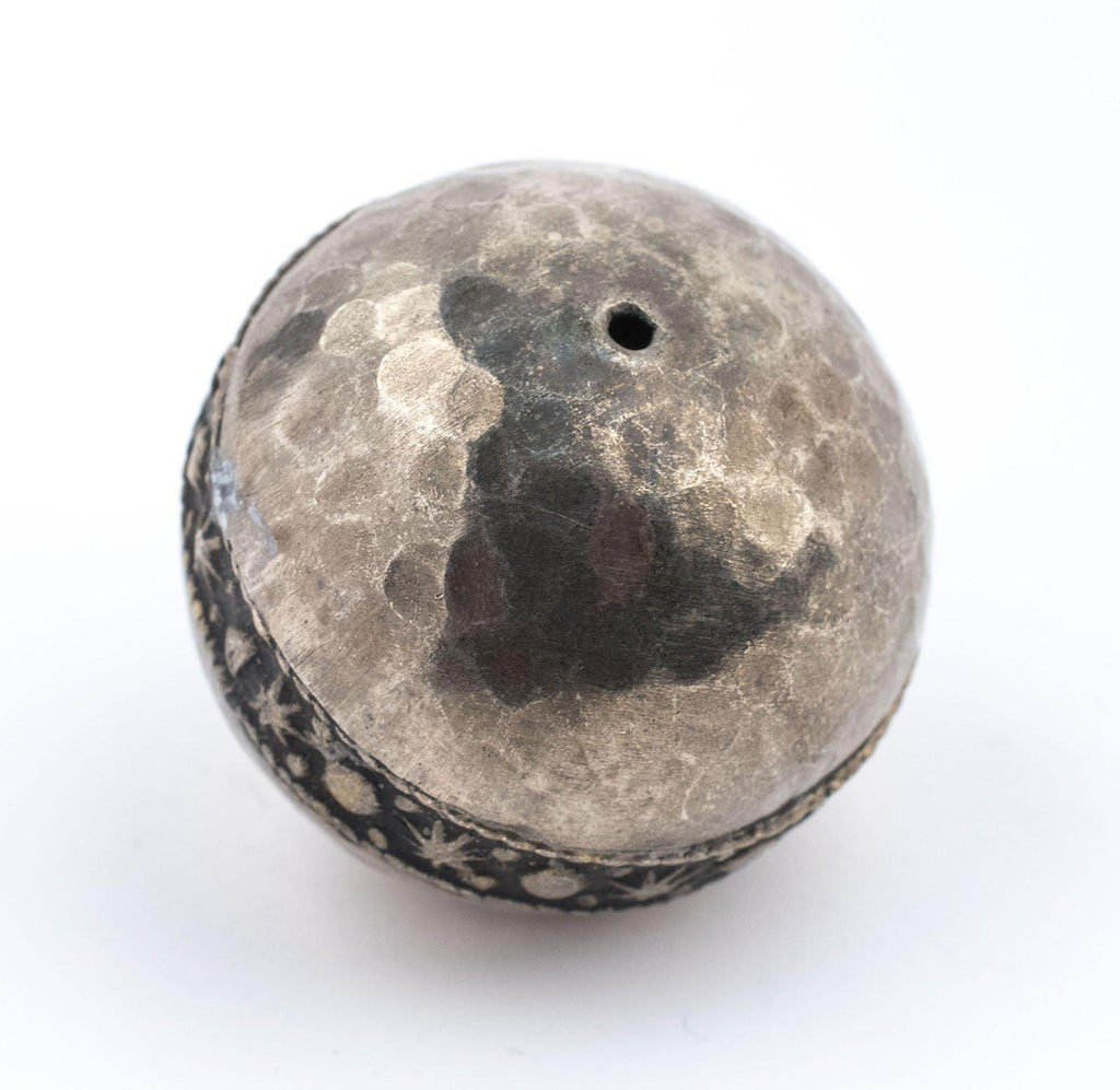 Round Hammered Silver Artisanal Berber Bead (33mm) - The Bead Chest