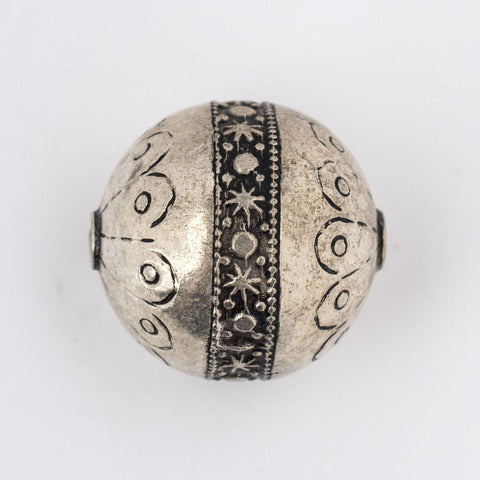 Round Silver Artisanal Berber Bead (28mm) - The Bead Chest