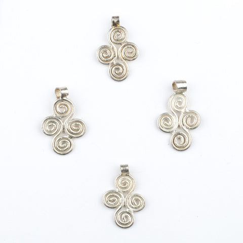Image of Silver Ethiopian Four Leaf Ornament Pendant (21x16mm) - The Bead Chest