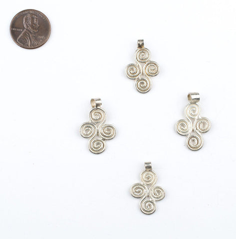 Silver Ethiopian Four Leaf Ornament Pendant (21x16mm) - The Bead Chest