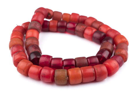 Image of Old Red Cylinder Tomato Beads - The Bead Chest