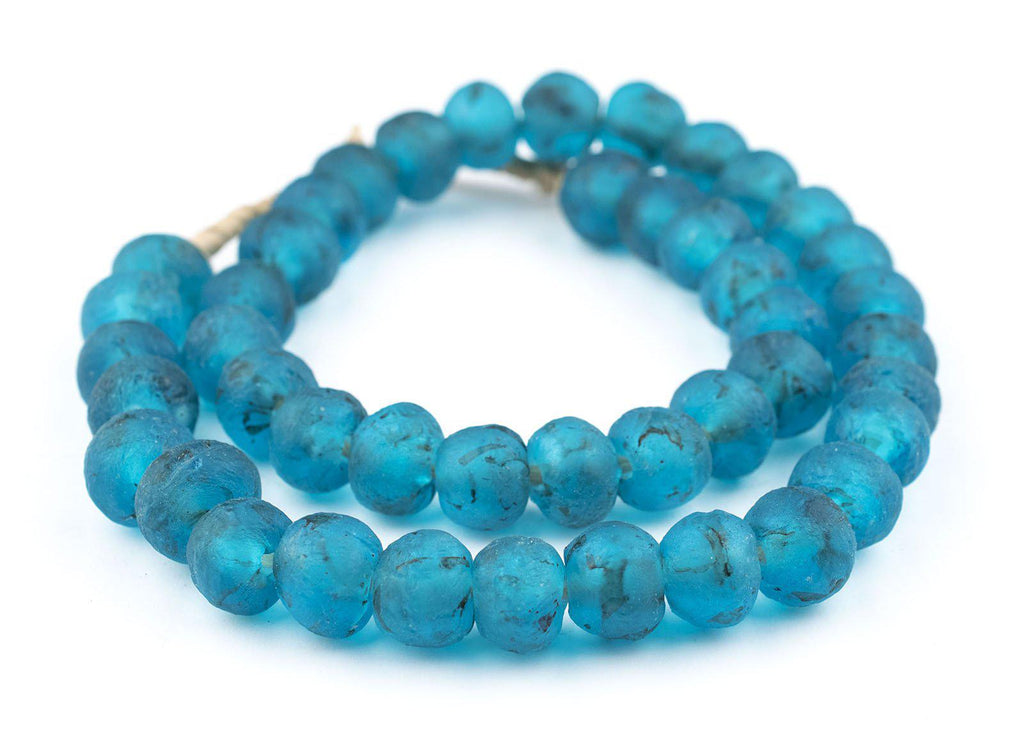 Turquoise Recycled Glass Beads (14mm) - The Bead Chest