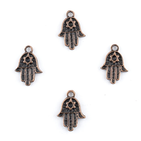 Image of Copper Star of David Hamsa Charm Pendants (Set of 4) - The Bead Chest