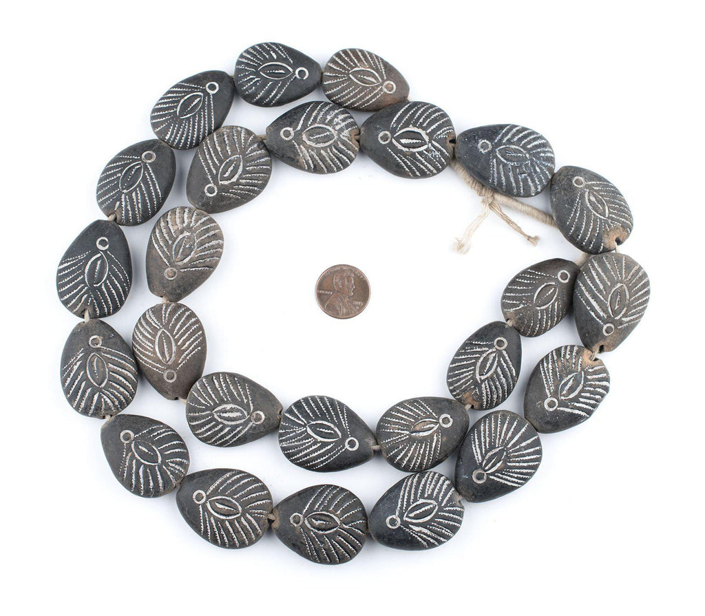 Teardrop Black Mali Clay Beads (34x26mm) - The Bead Chest