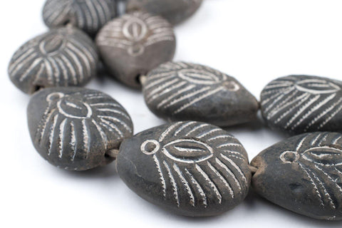 Image of Teardrop Black Mali Clay Beads (34x26mm) - The Bead Chest