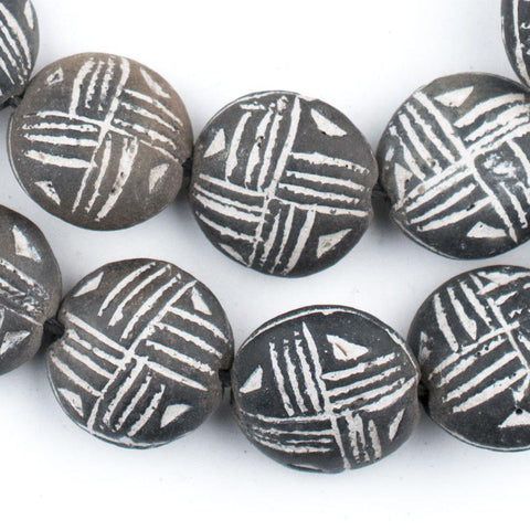 Circular Black Mali Clay Beads (10x20mm) - The Bead Chest