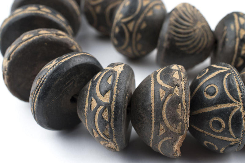 Old Gumdrop Black Mali Clay Beads (16x26mm) - The Bead Chest