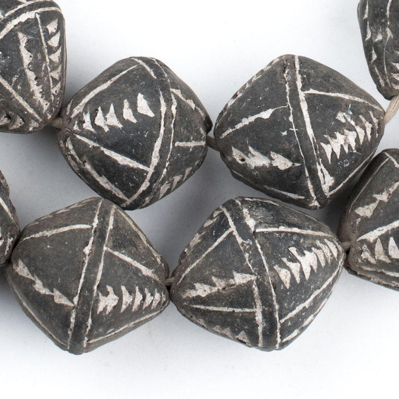Bicone Black Mali Clay Beads (26x24mm) - The Bead Chest