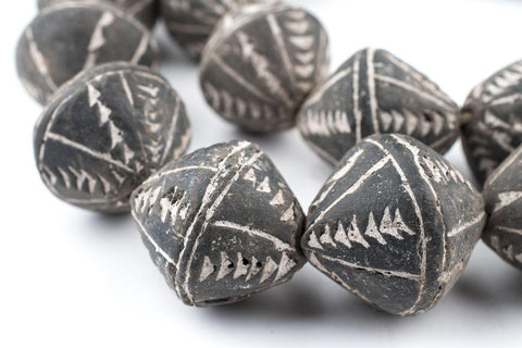 Image of Bicone Black Mali Clay Beads (26x24mm) - The Bead Chest