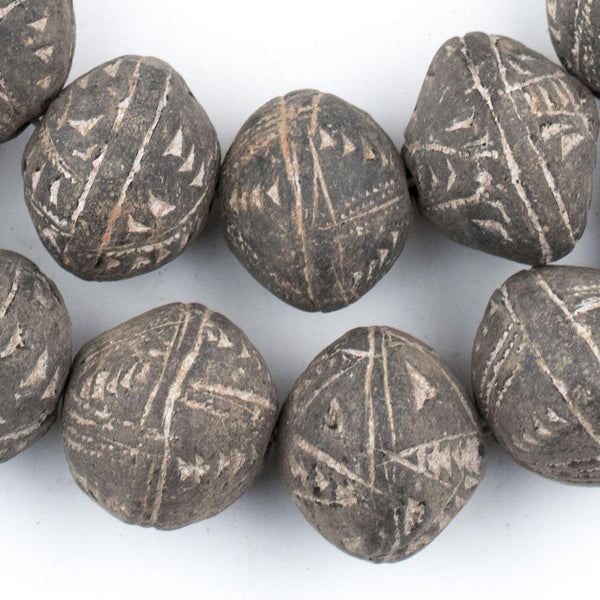 Bicone Black Mali Clay Beads (22x24mm) - The Bead Chest
