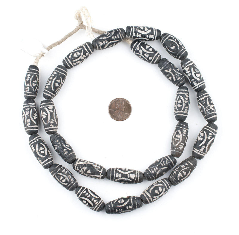 Black Terracotta Oval Mali Clay Beads (Tribal) - The Bead Chest