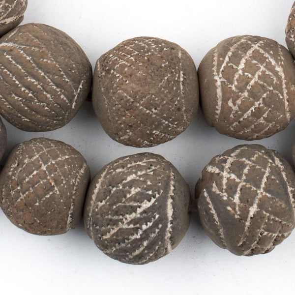 Round Black Mali Clay Beads (24mm) - The Bead Chest