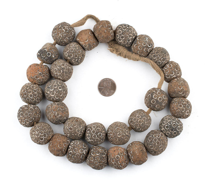 Round Black Mali Clay Beads (22mm) - The Bead Chest