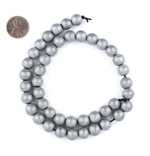 Silver Metallic Round Howlite Beads (10mm)
