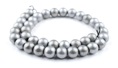 Silver Metallic Round Hematite Beads (12mm) - The Bead Chest