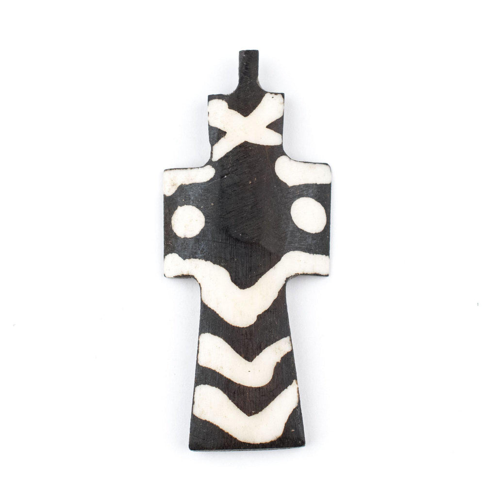 Batik Bone Cross Pendant (Dotted) - The Bead Chest