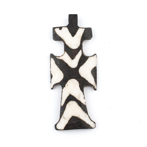 Image of Batik Bone Cross Pendant (Traditional) - The Bead Chest
