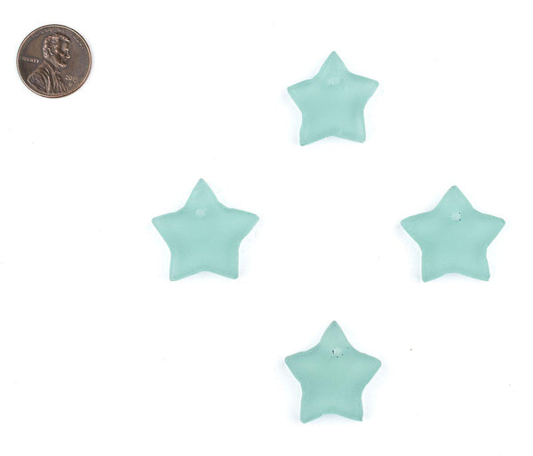 Green Aqua Sea Glass Star Pendants (Set of 4)