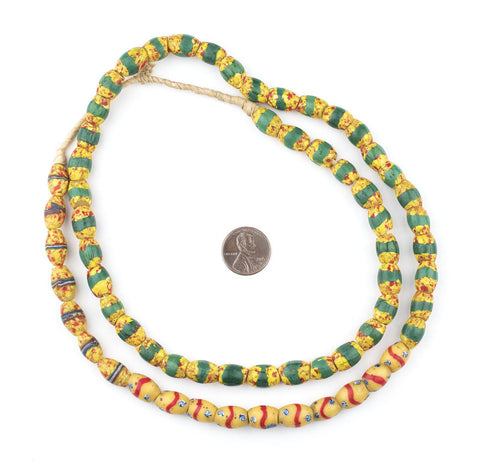 Image of Yellow Oval Striped Venetian Trade Beads (One of a Kind) - The Bead Chest