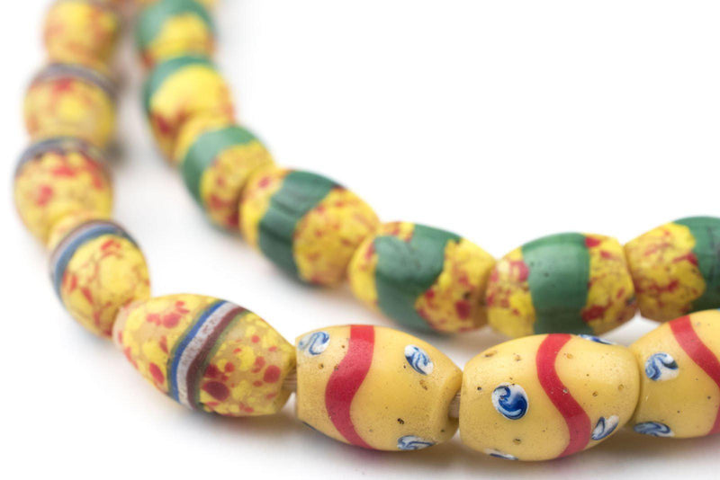 Yellow Oval Striped Venetian Trade Beads (One of a Kind) - The Bead Chest