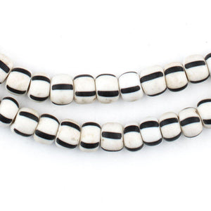Black & White Matte Chevron Beads (5x8mm) - The Bead Chest
