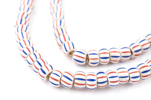 Red White & Blue Matte Ghana Chevron Beads (7mm) - The Bead Chest