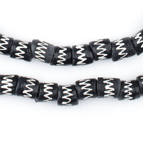 Mini Black Chevron Krobo Beads - The Bead Chest