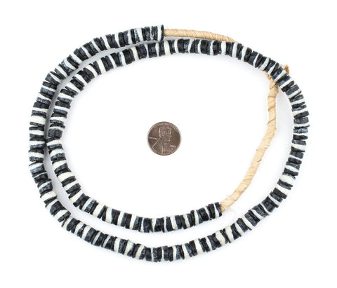 Black & White Striped Krobo Beads - The Bead Chest