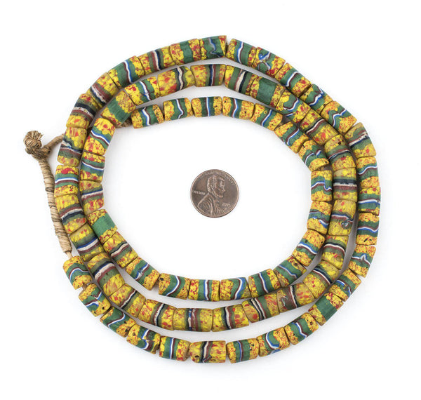 Yellow & Green Cylindrical Striped Venetian Trade Beads