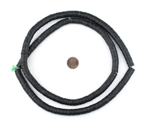 Black Vinyl Phono Record Beads (10mm) - The Bead Chest