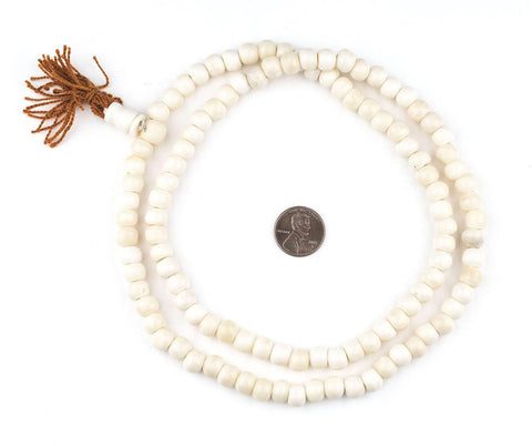 White Bone Mala Beads (8mm) - The Bead Chest