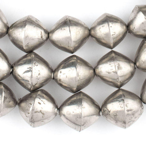 Mali Silver Bicone Beads (15x14mm) - The Bead Chest