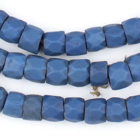 Dark Faceted Russian Blue Glass Trade Beads (9mm) (Long Strand) - The Bead Chest
