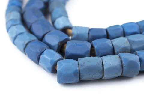Faceted Russian Blue Glass Trade Beads (10mm) (Long Strand) - The Bead Chest