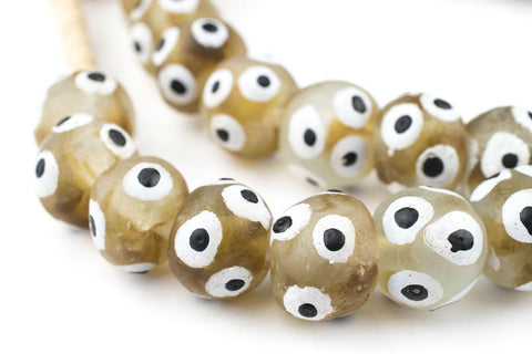 Painted Eye Brown Swirl Recycled Glass Beads (16mm) - The Bead Chest