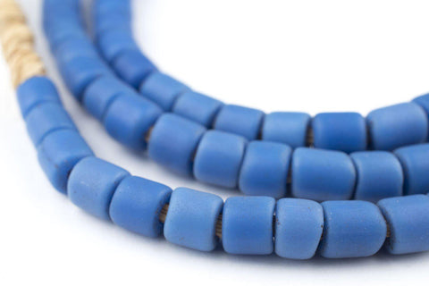 Cylindrical Russian Blue Style Glass Trade Beads - The Bead Chest