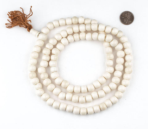 White Bone Mala Beads (10mm) - The Bead Chest