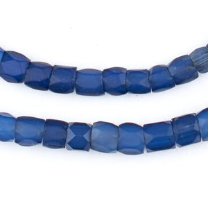 Dark Faceted Russian Blue Glass Trade Beads (7-10mm) - The Bead Chest
