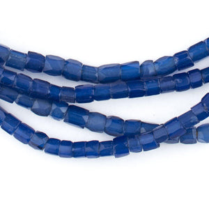 Dark Faceted Russian Blue Glass Trade Beads (5mm) - The Bead Chest