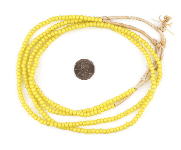 Yellow White Heart Beads (4mm)